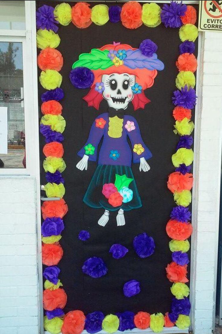 catrina casa decorada de halloween halloween Halloween Activities For Kids, Halloween Kids, Heritage Crafts, Apple Theme, Classroom Crafts, Classroom Door, Classroom Organization, Halloween Door Decorations, Class Decoration