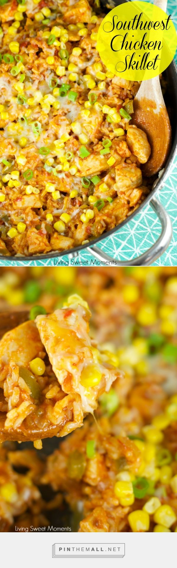 Southwest Skillet Chicken And Rice  – delicious one pot meal under 30 minutes. This easy to make chicken dish uses store bought salsa and other yummy southwest flavors