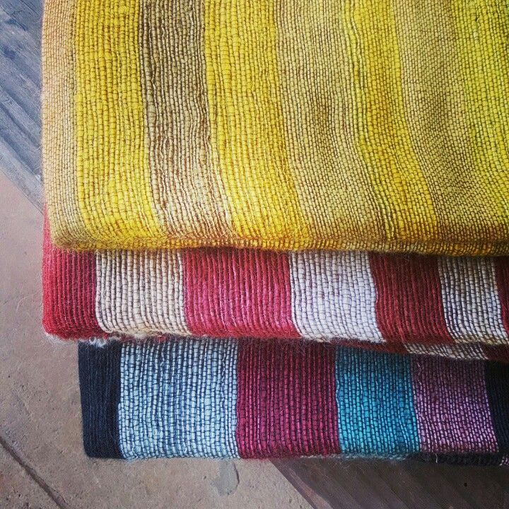 Bright mohair striped blankets