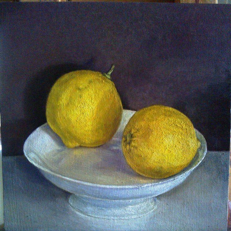 """""""limones"""" óleo sobre madera, 24X24 cms"""