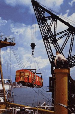 Unloading the first subway car from Britain. Port of Montreal. Circa 1954. Photo courtesy TTC