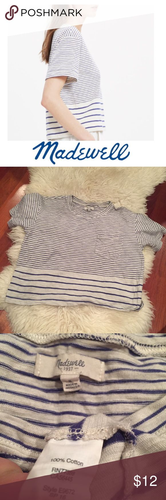 Madewell Striped Gray & Navy Short Sleeve Tee Madewell Striped Gray & Navy Short Sleeve Pocket Tee. 18 inch bust. 19 inches long, cropped and oversized. Gently worn. Great condition. Feel free to make an offer or bundle & save! Madewell Tops Tees - Short Sleeve