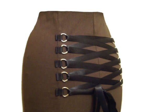 BROWN STEAMPUNK SKIRT, fishtail skirt, long gothic skirt, full length, gothic corset skirt, long gothic skirt, any size 8 to 34, plus size