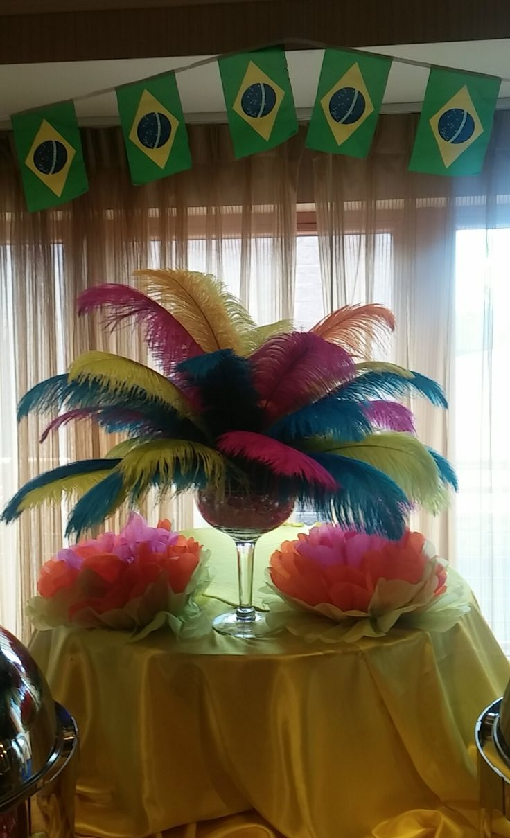 Viana Hotel & Spa Client Appreciation Party 2015 Rio Carnival Theme. Feather Table Centerpieces.