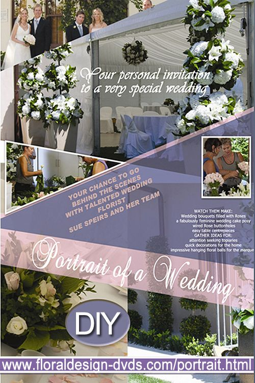 Complete floral wedding shown step by step: DVD, rent or view on demand www.floraldesign-dvd.com/portrait.html #wedding #bouquet #topiary