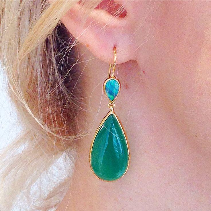 Green onyx, opal doublet gold earrings