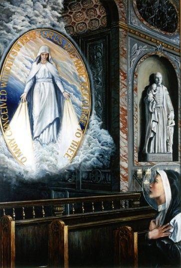 ORIGEN DE LA MEDALLA MILAGROSA  LAS 2 APARICIONES ORIGEN DE LA ADVOCACIÓN DE LA SANTÍSIMA VIRGEN DE LA MEDALLA MILAGROSA A SANTA CATALINA LABOURÉ EN PARIS  1°APARICIÓN  En la casa madre de la Compañía de las Religiosas Hijas de la Caridad, que fundaran san Vicente de Paúl y santa Luisa de Marillach.  En esta casa habitaba en 1830 una novicia llamada sor Catalina Labouré, a quien la Santísima Virgen confió un mensaje salvador para todos los que con confianza y fervor lo aceptaran y…