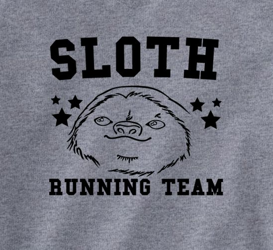 Trendy Pop Culture Sloth racing running team marathon couch potato lazy son fat horizontal running Tee T-Shirt Ladies Youth Unisex