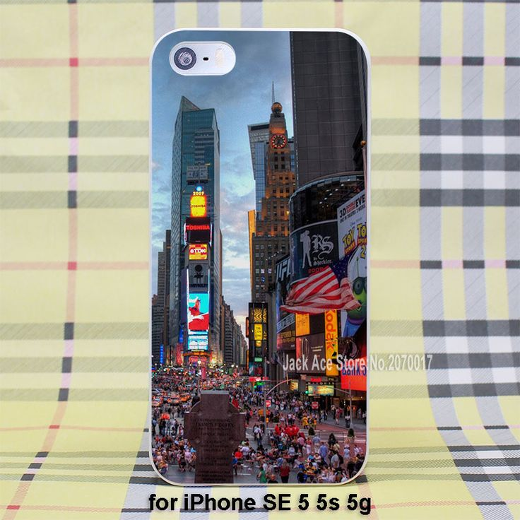 Таймс-Сквер ет Нова-Йорк чехол для Apple iPhone SE 4 4S 5 5S 5c 6/6 s 6 Плюс/6 sPlus пластиковый белый случае