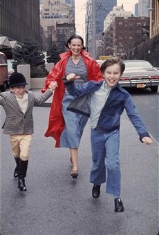 A young Anderson Cooper with his mother Gloria Vanderbilt and his late older brother Carter Vanderbilt Cooper, running happily through the streets of their hometown of Manhattan Island.  c.1973