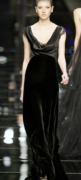 Valentin Yudashkin - Draped V-necked satin & velvet, bias-cut gown.  Narrow straps with the slightest cap sleeve. A hint of black lace