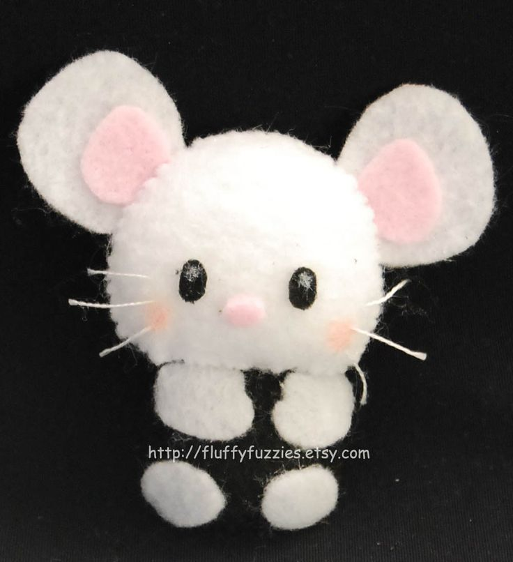 Twitch the Rat(Mouse) - Stuffed Felt Animal Magnet/Keychain/Ornament (White/Black). $8.00, via Etsy.