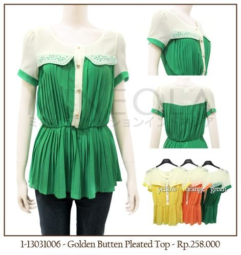 #MINEOLA Golden Button Pleated Top Green. Also available in yellow and orange color. Get this stylish top for only Rp.258.000,-   Fabrics: chiffon Product code: 1-13031006 Bust: 84cm - Waist: 78cm - Length: 64cm.