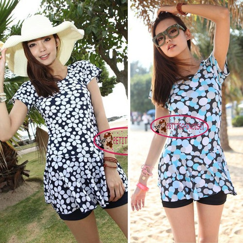Short Sleeves Plus Size Floral One Piece Swim Dress Bathing Suit Swimsuit SW147   eBay