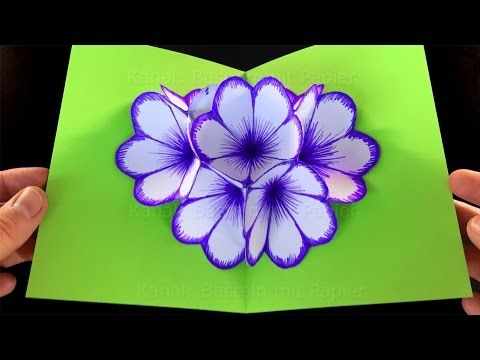 Biglietto pop up Fiori - fai da te - Fiori pop up. - YouTube