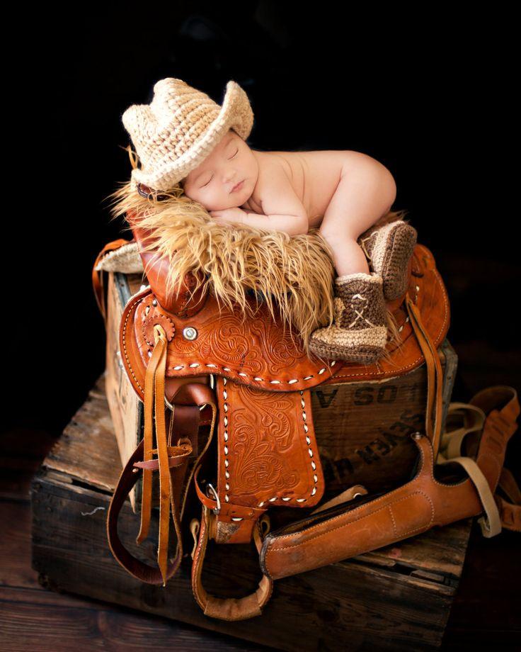Cowboy Boots and Cowboy Hat, Cowboy baby shower, Brown Cowboy set. $35.50, via Etsy.
