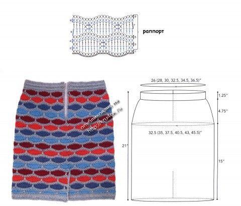 Схема вязания юбки и выкройка