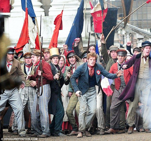 Les Mis (2012) | Old Royal Naval College, Greenwich, England. On the set with extras filming epic battle scene.