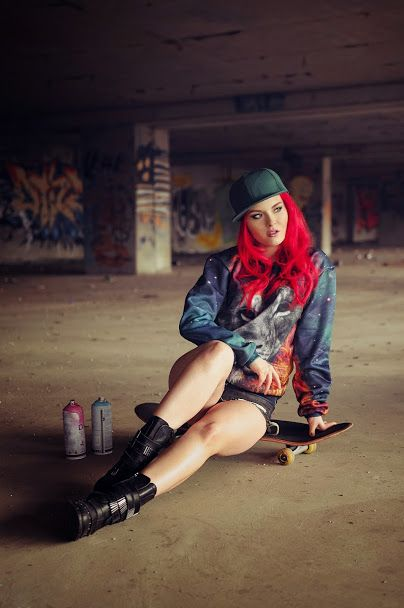 Skate girl! Sweatshirt  by Brain Wash Clothing