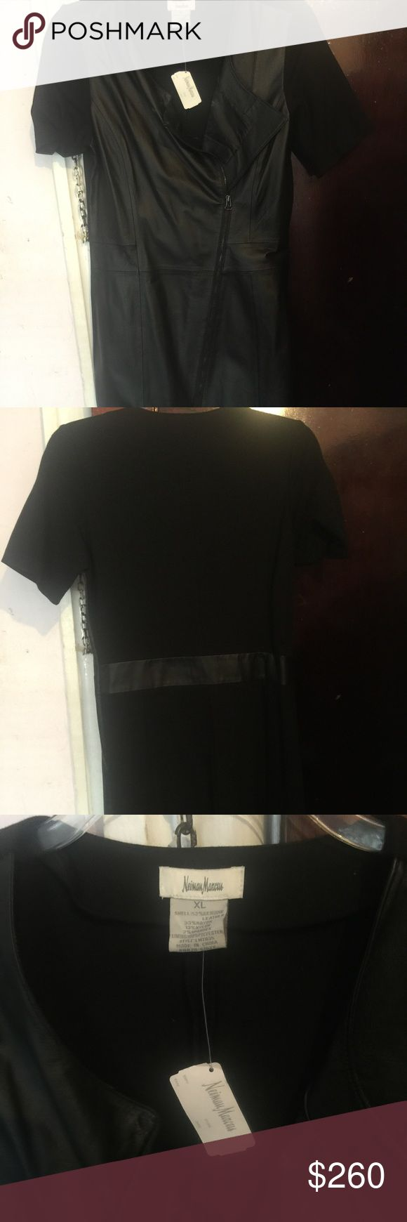 Mid length Neiman Marcus leather dress Mid length fitted leather dress with zip front and spandex back Neiman Marcus Dresses Midi