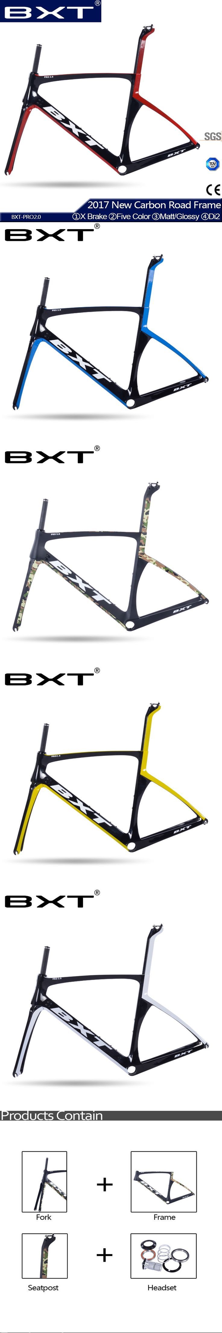 BXT hot sell carbon T800 road bike frame fork+seatpost+frame cheap bicycles carbon frame road bike Five colour free shipping