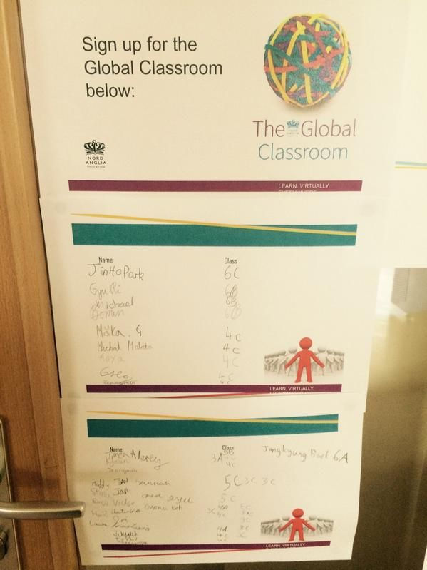 The very popular sign up sheet for the Primary Global Classroom Club