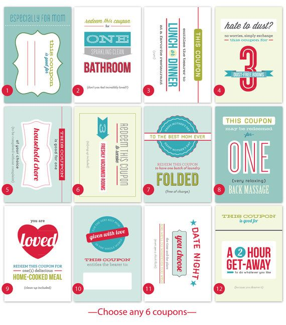 combination set of a Mother's Day card and six beautifully designed and printed 'coupons' makes a terrific gift
