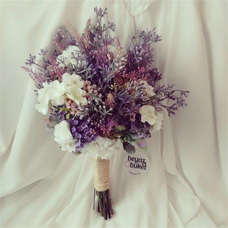 Mor Kır Çiçeği Gelin Buketi   Beyaz Buket    Mor Kır Çiçeği (Buketi) sizler için sevgi ile sıcacık hazırlandı ama sınırlı sayıda