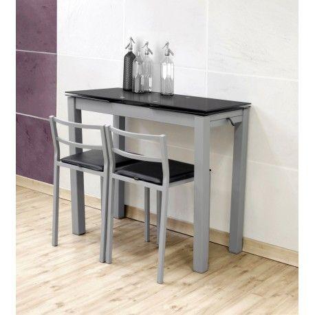 Es un conjunto de mesa metálica extensible con tapa de cristal berenjena o negro con estructura metálica en acero gris y tapa de cristal templado de  en color negro con dos taburetes metálicos.