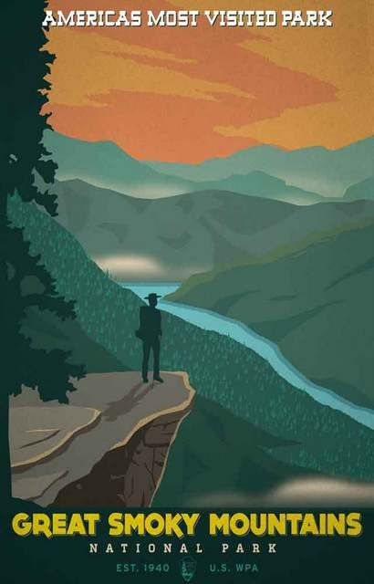 A great poster for America's most visited park - Great Smoky Mountains National Park on the border of Tennessee and North Carolina! Ships fast. 11x17 inches. Need Poster Mounts..?