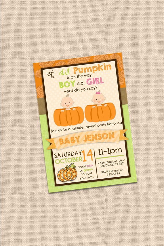 Lil' Pumpkin Gender Reveal Invitataion by beenesprout on Etsy