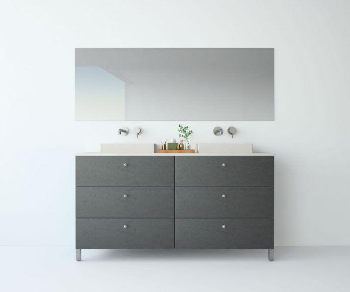 Muebles de baño, propuestas de composiciones para conseguir amplitud en el almacenaje: cajones, puertas correderas, abatibles, huecos vistos, etc. unibaño-compactos-almacenaje-27