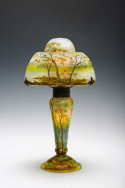 Daum Frères, Nancy, Enameled and Etched Glass Lamp.