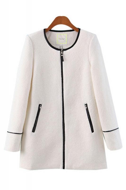 White Zipper Fly Plain Long Sleeve Winter Coat