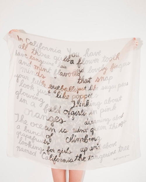 poem scarf by the style files, via FlickrPoems Scarf, Artists, Ideas, California Girls, California Poems, Leahgoren, Chiffon, Leah Goren, Silk Scarves