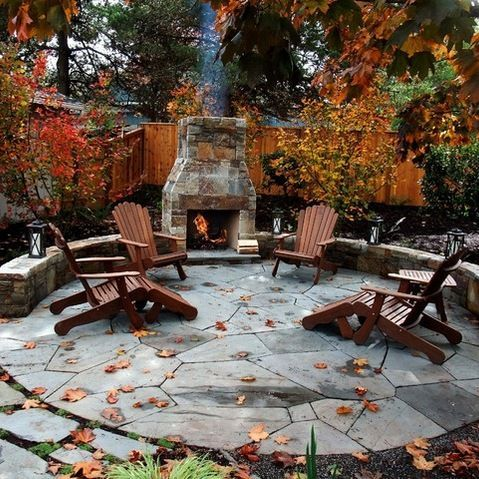 outdoor fireplace and pretty circular patio design