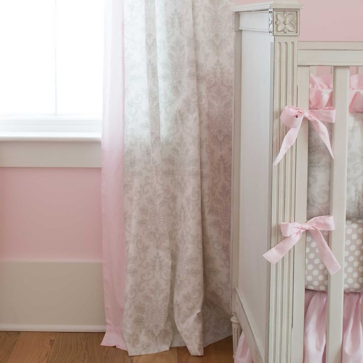 French Gray and Pink Damask Nursery Decor by Carousel Designs.