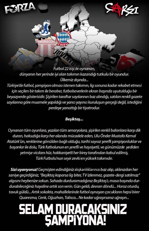 Çarşı'dan sert açıklama! - Haber1903 | Beşiktaş'ın Kalbi