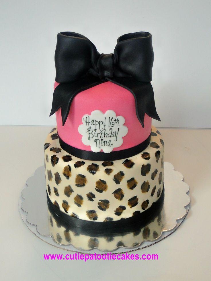 Pink Cheetah Cake   Hot Pink and Cheetah Cake