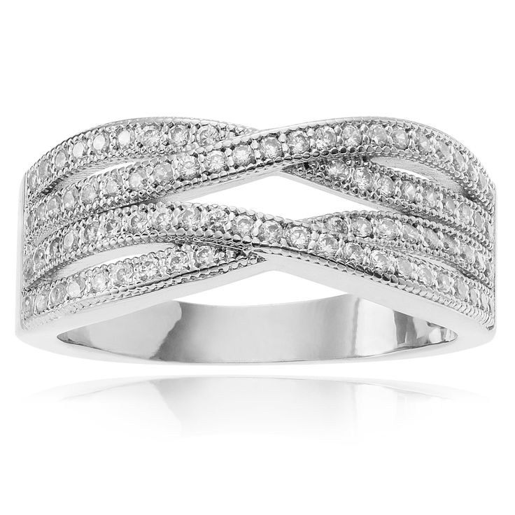 Journee Collection Cubic Zirconia Accent Layered Weave Band (Size- 9), Women's, Silver