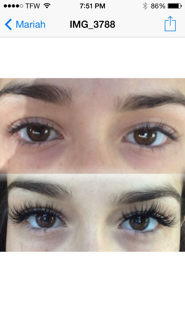 Before and after eyelash extentions