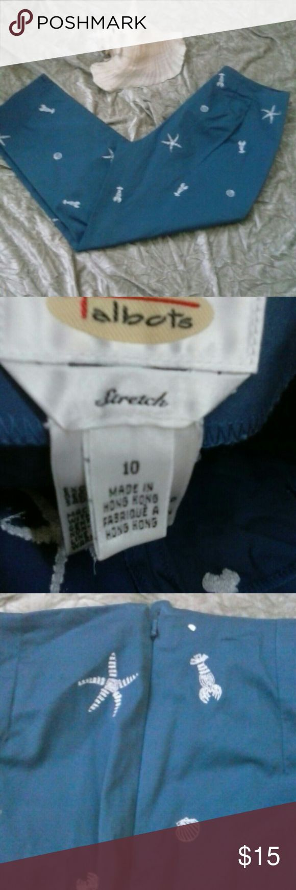 """NWOT Talbots Capri Pants Beach  Nautical Size 10 NEW without tags Talbot Capri Pants instead  24.5"""". Stretch made of 97% cotton, 3% Spandex. Machine Wash, Color a dusty blue pic color is accurate. Side zippered hidden closure, pic 3. Has white embroidered sea life, star fish, lobster and clams! Super cute!! Talbots Pants Capris"""