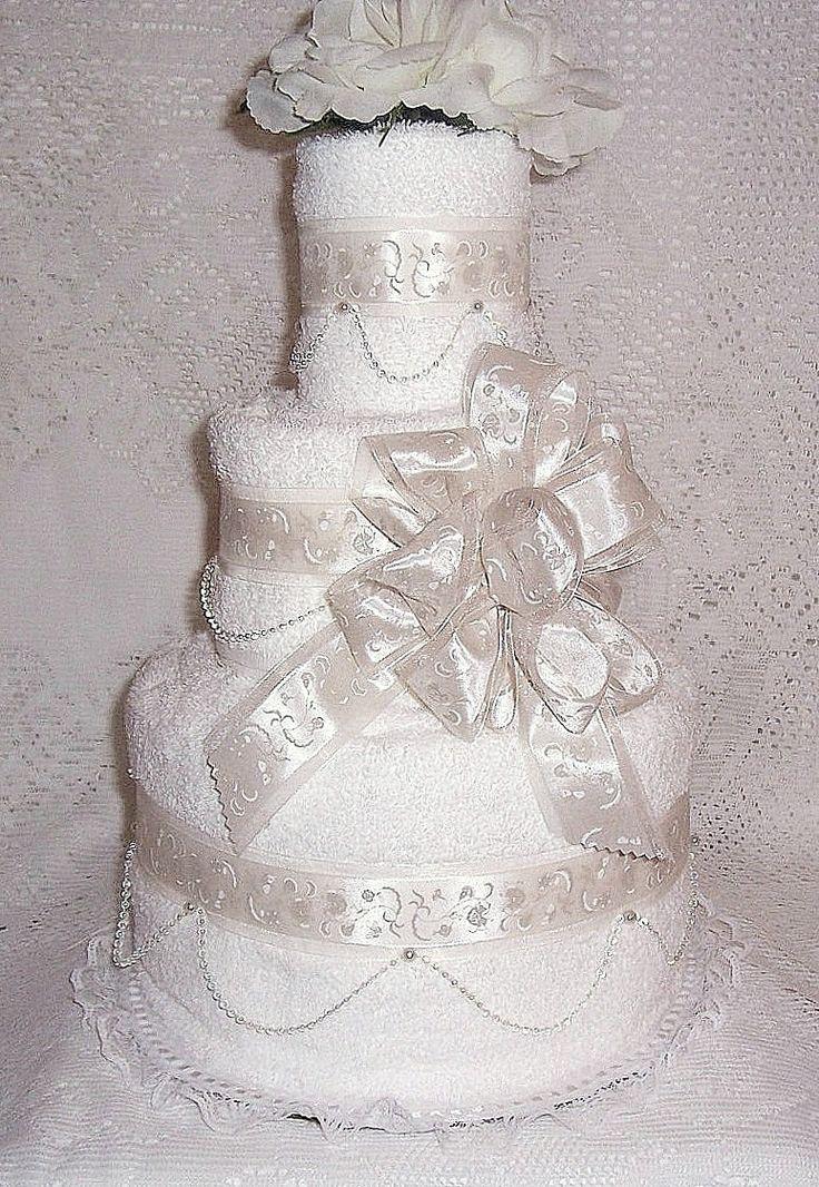 Towel Wedding Cake Centerpiece | Wedding Shower Towel Cake Centerpiece by specialdiapercakes