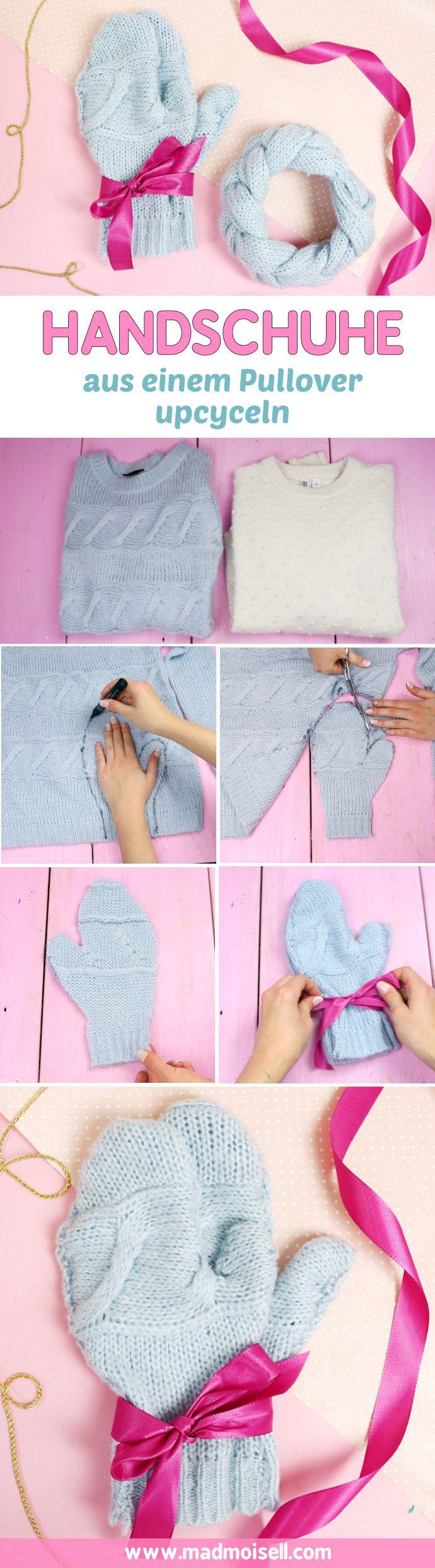 DIY Handschuhe und Stirnband selber machen: Schnelles DIY Weihnachtsgeschenk  Ich zeige euch heute eine super schnelle und einfache DIY Idee für selbstgemachte Handschuhe. Das Geniale an dieser Idee: Die Handschuhe werden aus einem alten Strickpullover upgecycelt, ist das nicht cool? Ich hätte NIE gedacht, dass die Handschuhe nachher auch tragbar sind, aber man kann sie wirklich kaum von gekauften Handschuhen unterscheiden.