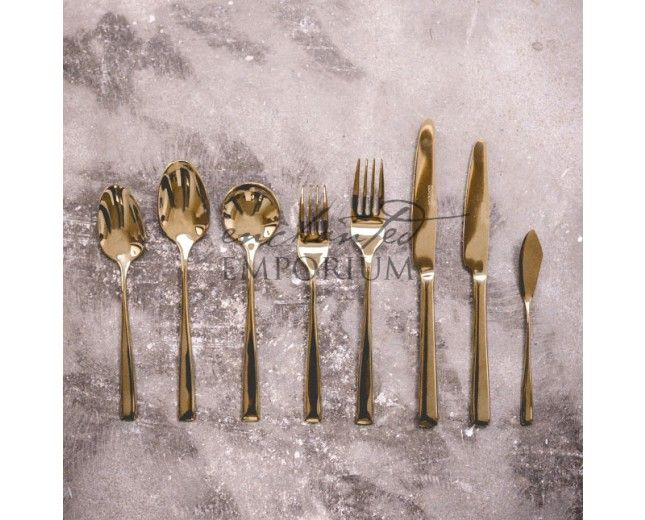 Gold Cutlery Hire | Enchanted Emporium Wedding cutlery in the stunning modern metallic hue of Gold.