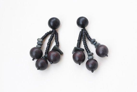 90s Beaded Earrings Oversize Earrings Geometric by SoulSisters16