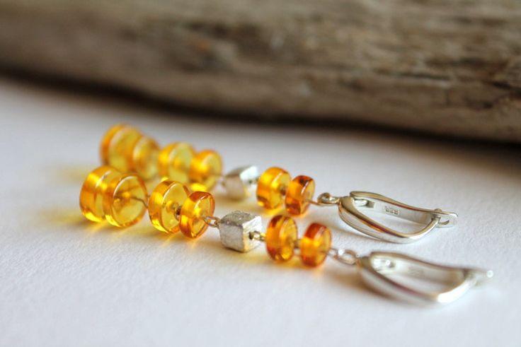 Baltic amber earrings with silver clasp, Amber jewelry, Handmade earrings, long earrings, lemon color, baltic amber jewelry, genuine amber by AmberDesign8 on Etsy