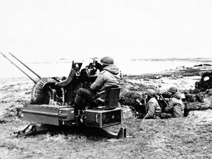 Canón antiaéreo bitubo Oerlikon de 20 mm, tropas argentinas, Malvinas-1982
