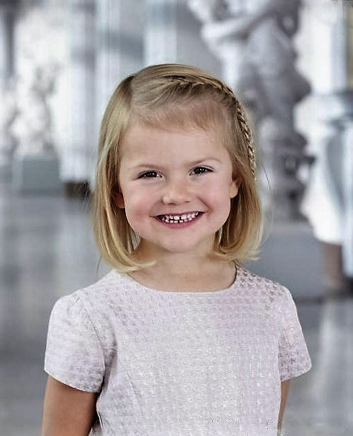 Princess Estelle of Sweden, portrait published after the birth of her brother Prince Oscar in March, 2016.