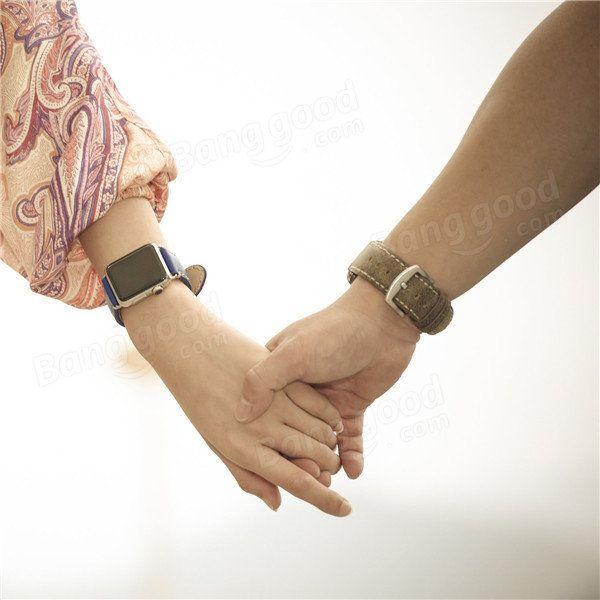 Kajsa 38mm Slim Vintage Watchband Genuine Leather Strap Watch Band Wristband For Apple Watch